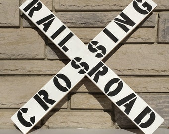 Railroad Crossing Sign// Rustic Wood Sign// Train Themed Room Design// Nursery Sign// Baby Shower Gift