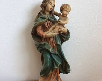 Vintage Madonna, Virgin Mary and Child Figurine - hand painted