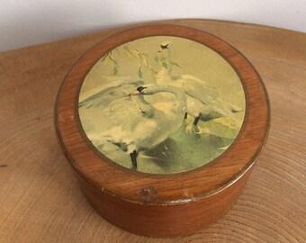 Vintage 50's Wooden, Metal lined Vanity, Powder, Trinket Box - Swan Print, Vernon Ward?