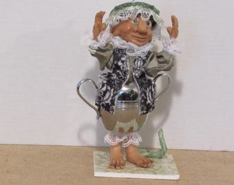 OOAK Art Doll, Troll in a Sugar Bowl,Handmade Art doll, Polymer Clay Doll by Susan Massey