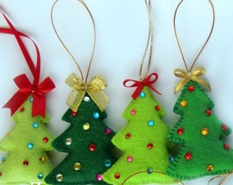 Felt Christmas Tree Christmas tree ornament felt ornaments,Christmas/Housewarming home decor hand embroidered gifts ornaments Tree Ornaments