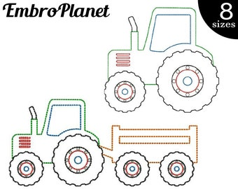 Outline Tractors - Designs for Embroidery Machine Instant Download Digital Graphic Stitch 4x4 5x7 inch hoop tractor farm machine File 487e
