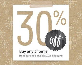 Buy 3, get 30% off; coupon code LUKKA30