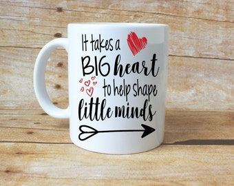 Teacher Mug// Coffee// Teacher Gift// Big Heart// Gift Ideas