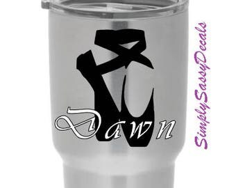 Personalized Ballet Slippers Decal