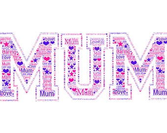 Personalised Mum Word art picture - Mothers day birthday etc