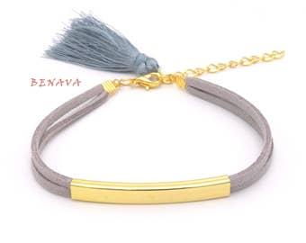 Bracelet with tassel Grau Gold fabric bracelet