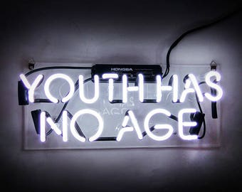 "Handmade 'Youth Has no Age' Wedding Art Banner Room Decor Neon Light Sign 14""x6"""