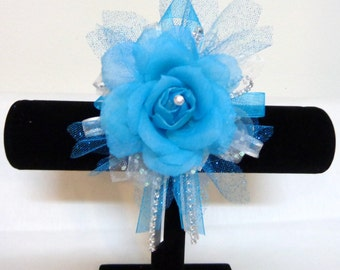Aqua Blue Organza Flower Wrist Corsage-Wrist Corsage-Wedding Destination-Prom-Party-Mother of the Bride-Bridesmaid-Wrist Corsage