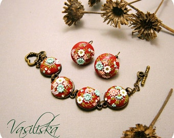 Handmade polymer clay set'  Set in the technique of filigree  in Eva Thissen style' polymer clay earrings