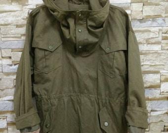 Vintage WW2 US Air Force USN Mechanics Parka Alpaca Jacket Coat Hoodie Military Army