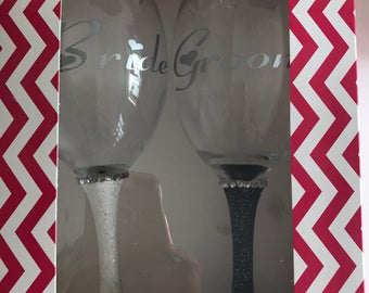 Bride and Groom Wine Glass Gift Set In Box