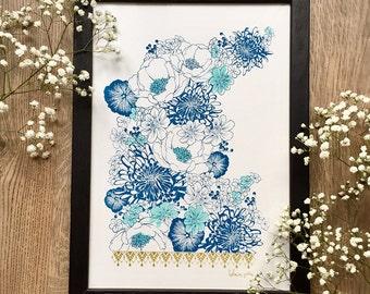 Blue flower illustration, flower bouquet, poster, art