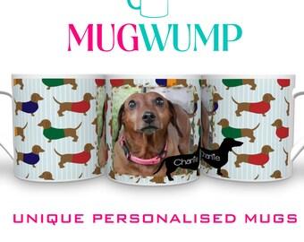 Personalised Dachshund Dog Mug. Sausage Dog. Dachshund Gift. Personalised Mugs.  Photo Mugs.