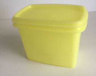 Vintage Tupperware Canary Yellow Storage Container Canister #1243/1244