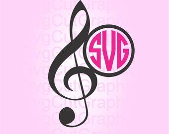 Treble Clef SVG Files, Svg Files, Music Svg Monogram, SVG Files for Cricut, Svg Monogram Frames, Silhouette SVG File, Cricut Svg Files