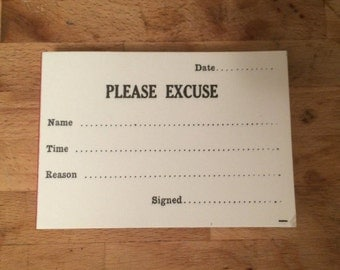 1950's Student Excuse paper pad