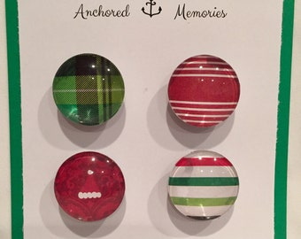 Handcrafted Glass Magnets - Set of 4 - Buffalo Plaid / Stripes / Santa Hats | Holiday Gift | Party Favors | Stocking Stuffer