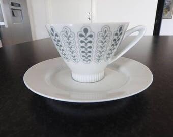 Vintage! Upsala Ekeby Karlskrona /  coffee cup and saucer, 1950'S