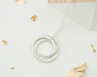 Personalized Russian Ring Name Necklace, Sterling Silver 'Faith, Hope, Love' 3 Ring Necklace, Personalised Gifts For Her, Bridal Jewellery