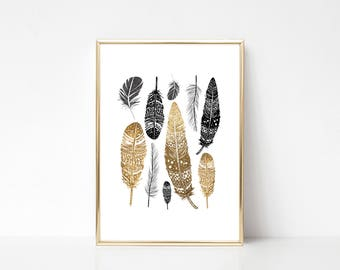 Gold Feathers,Printable Art,Printable Wall Art Print,Feathers Print,Boho Print,Modern Home Decor,Digital Print,Instant Downnload