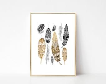 Gold Feathers,Printable Art,Printable Wall Art Print,Feathers Print,Boho Print,Modern Home Decor,Digital Print,Instant Downnload