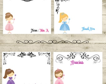 Princess Note Cards, Princess Cards, Girls Note Cards, Fairy Tale Note Cards, Personalized Cards, PRINTABLE CARD-SCRAP-181