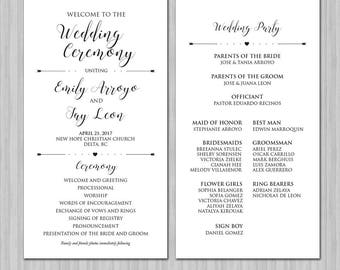 Wedding Program - Script - Calligraphy- Wedding Program Cards - Wedding Program Book - Wedding Program Printables - Colors Available