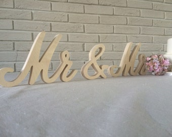 Wedding signs Mrs and Mr for wedding table Mrs and Mr or Mrs and Mr glitter wooden letter Mrs and Mr wedding signs