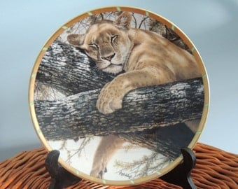 "Vintage Cat Plate, Guy Coheleach's ""Cat Nap"" Plate, Lenox Collectors Plate, Lioness Plate, Big Cat Collection, Wild Cat Plate"