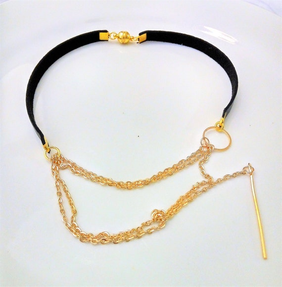 cool handmade necklace chocker black tight leather collar with
