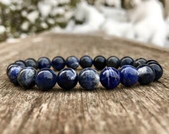 Sodalite Bracelet Handmade 8mm Blue Sodalite Beaded Gemstone Bracelet Natural Sodalite Bracelet Stack Bracelet Jewelry Gift Bracelet