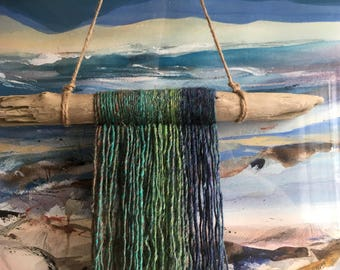 Blue and Green Yarn Wall Hanging on Driftwood / Bohemian Style / Coastal Boho Decor / Colorful Wall Art