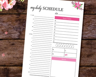 Printable Hourly Planner, Printable Daily Schedule, Hourly Schedule, Hourly Planner 2017, Day Organiser, Hourly Day Plan,A4, A5, Letter Size