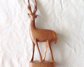 Vintage Wood Carved Gazelle