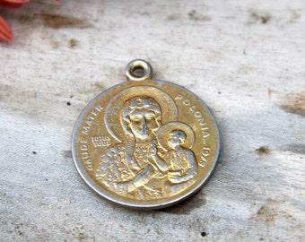 Antique pendant religious pendant retro pendant old pendant primitive pendant Catholic Charm Religious Charm Mary Pendant Religious Medal