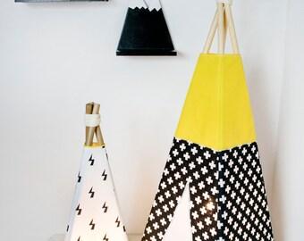 Big tipi lamp black & yellow, tipi lamp, teepee lamp, tent lamp, indoor lamp, table lamp, floor lamp. kidsroom lamp