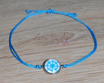 Elegant bracelet light blue cabochon / rowing