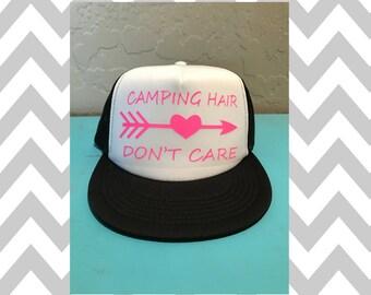 Camping Hair Don't Care Trucker Hat Snapback Hat Custom Trucker Camper Rat River Hat Lake Hat Havasu Life Summer Hat Adjustable Trucker Hat