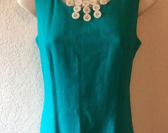 Petite Sophisticate Teal Linen Sheath Dress, High Scoop Neck, Size 4