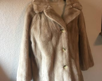 Vintage Light Tan Over Sized Faux Fur Coat with Pockets, Made in England