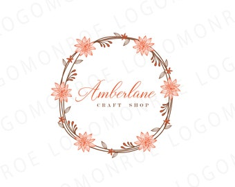 Premade Hand drawn Sketched Wreath Logo - Photography Logo and Watermark Design - Photography or Blog - Business Branding - Logo