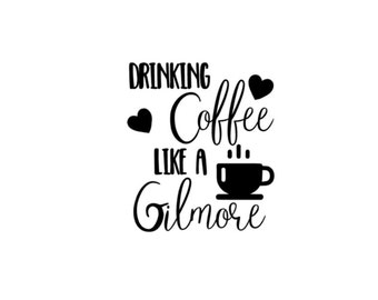 drinking coffee like a gilmore, girl decal sticker mug tumbler travel laptop car hearts