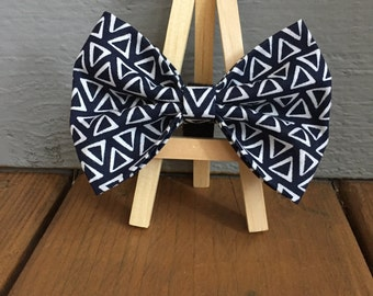 Navy blue and white dog bow tie