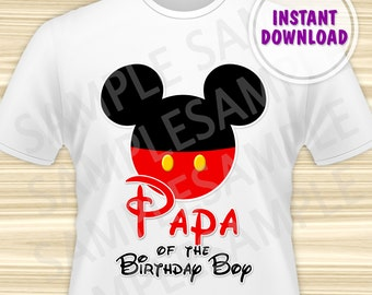 Mickey Mouse Papa of the Birthday Boy Iron On. Mickey Iron On Transfer. Mickey Mouse Birthday Shirt. DIGITAL FILE.