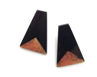 Vintage Modern minimalist earrings / 80's / black
