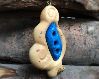 Wooden Necklace with Blue Stone inlay - wood pendant, carved pendant, stone necklace, wood jewelry