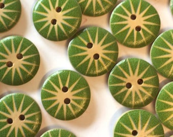 10 green buttons, green wood buttons, 18mm buttons, round wooden buttons, painted wood, green starburst, craft buttons, cardmaking