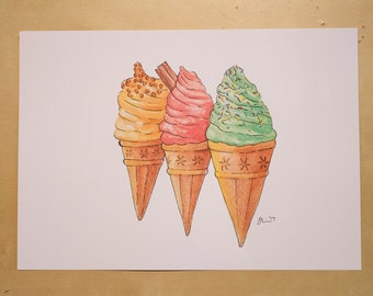 Trio of Ice Creams - Watercolour Print