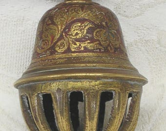 Indian brass elephant bell, antique claw bell made in India. Etched and enameled clover pattern. Brass cage bell. Boho gypsy caravan decor